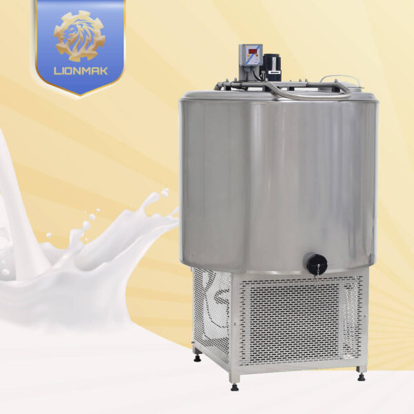 Small vertical model milk cooling tank